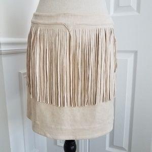 J.O.A Bohemian Fringe Suede Mini Skirt